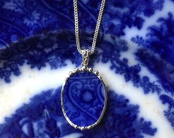 Broken china jewelry. Antique 1880s English Flow Blue broken china jewelry pendant necklace