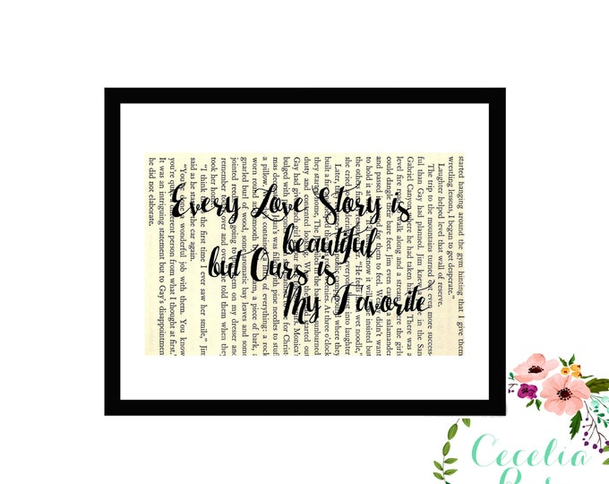 Every Love Story Is Beautiful But Ours Is My Favorite Vintage Book Page Art Box Frame or Print Farmhouse Style
