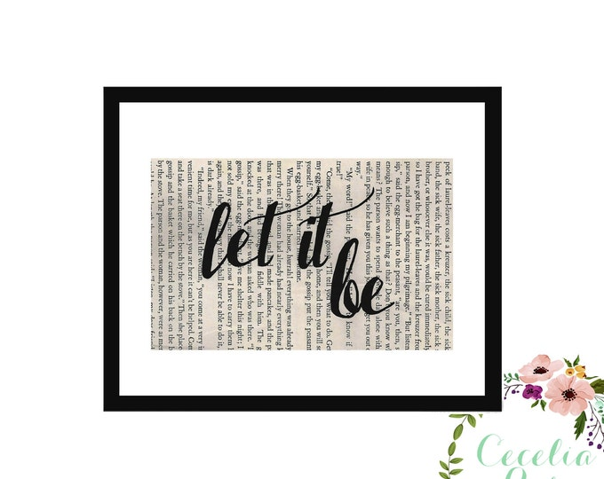 Let It Be John Lennon Beatles Peace Inspirational Upcycled Vintage Book Page Box Frame or Print