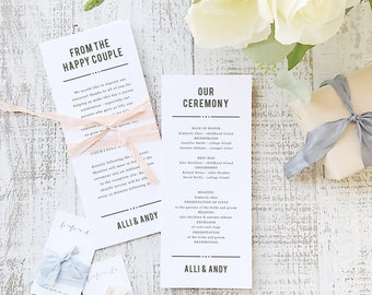 Instant Printable Wedding Program Template   INSTANT DOWNLOAD   Nightlife   Flat Tea Length   Editable Colors   Mac or PC   Word & Pages