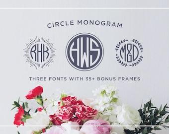 Circle Monogram Font, Round Monogram Frame, Modern Monogram Typeface, Monogram Initials, OTF & TTF files, Instant Download