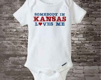 Somebody In Kansas (or any state) Loves Me Gerber Onesie or Tee Shirt (04072015b)