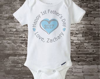 New Dad Gift, Happy 1st Father's Day Onesie,  Personalized First Fathers Day Onesie or Tee shirt with Blue Heart (05242017d)