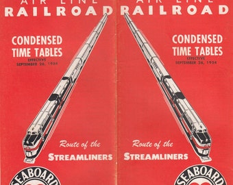 1954 SAL Seaboard Air Line Railroad Condensed Time Table Streamliner Schedules