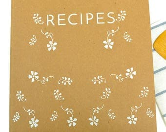 Recipe Binder -- Hand-Stenciled Cover with 24 Letter Size Recipe Cards and 8 Tabs in Royal Design