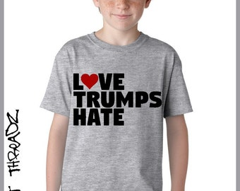 "YOUTH. Love Trumps Hate. Children Tshirt. ""I have decided to stick with LOVE, hate is too great a burden to bear"" MLK."
