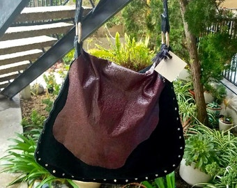 Black Suede Hobo Bag w/ Burgundy Flap & Rivet Detail
