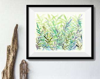 The fern forest Art Print, print of watercolor painting, Abstract forest art, wall decor, mint, green, modern art, fern art, home decor