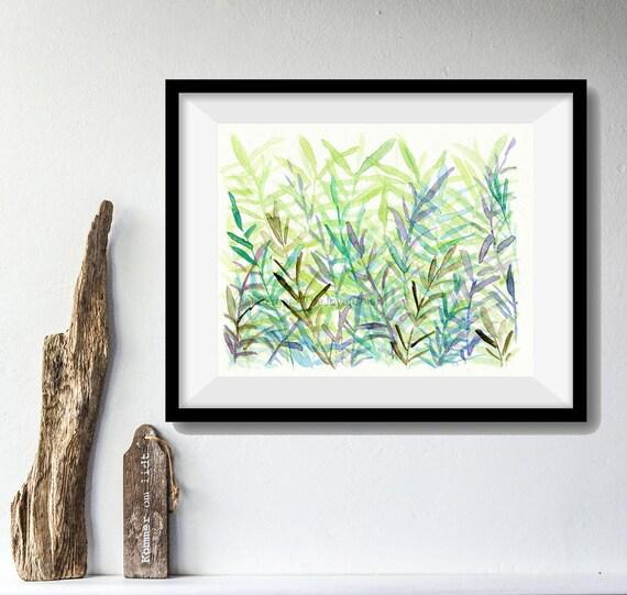 The fern forest Art Print, print of watercolor painting, Abstract forest art, wall decor, mint, green, modern art, fern art, home decor