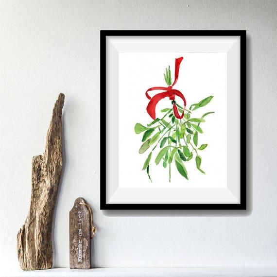 Mistletoe Art print/ mistletoe watercolor print/ mistletoe painting/ Christmas art/ Christmas print/  holiday art/  thejoyofcolor art