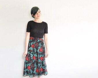 holly berry high waist maxi skirt . black red green rose leaf print pattern .medium