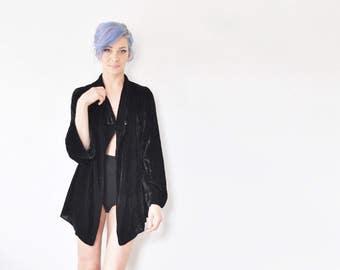 1930 black velvet bed coat . plush asymmetric lingerie jacket .small.medium .sale