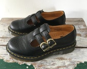 Doc Martin Mary Janes, Grunge, Womens US6 UK4 EU 37, Black Mary Janes, Dr.Marten, Black Leather, Docs, Black Docs Air Wair Double Buckle