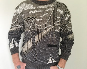 80s Sweater, Knit Sweater, Vintage Sweater, Boat Scene, Mens Grey Sweater, Chunky Knit, Oversize Unisex Sweater, Pullover M L XL