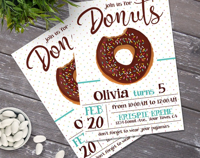 Donut Birthday Party Invitation - Doughnuts Shop, Donuts Invitations, Donuts & Pajamas, Bakery Party - Instant Download PDF Printable