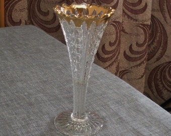 Vintage Pressed Glass Small Trumpet Bud Vase with Gold