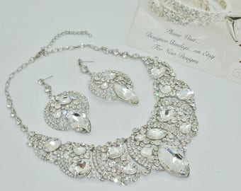 Chunky Rhinestone Statement Bridal Bib Necklace and Free Earrings ~ Marquise Stones