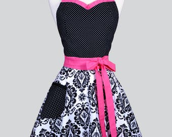 Sweetheart 50s Womens Apron . Retro Hot Pink and Black Damask with Polka Dot Cute Flirty and Sexy Vintage Style Hostess or Wedding Apron
