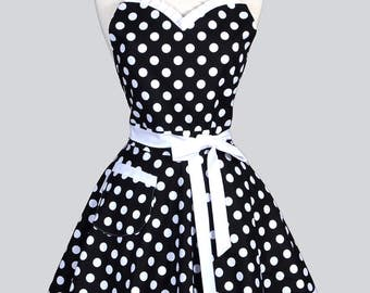 Sweetheart Pinup Womans Apron - Black and White Large Polka Dot Retro Vintage Inspired Flirty Ruffled Kitchen Apron with Pocket