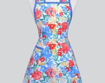 50s Style Retro Apron - Blue Yellow and Red Large Floral Womans Vintage Inspired Cute Housewife Kitchen Apron with Pocket