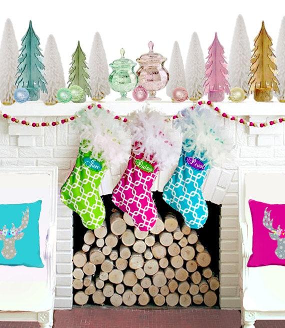 Family Christmas Stockings, Large Christmas Stockings, well made colorful stocking, Family Stocking, Holiday Decor, Design Your Own Stocking