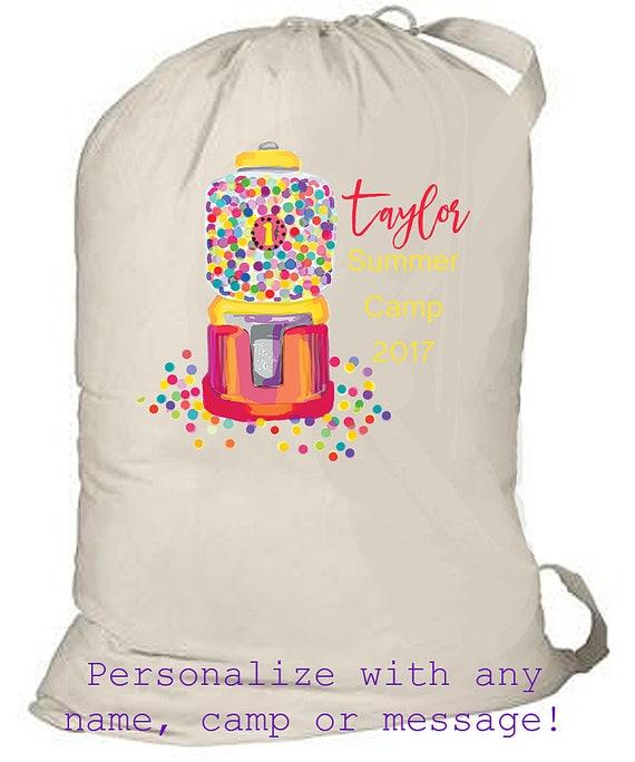 Summer Camp Bag, Monogrammed Laundry Bag, Large Family Travel Laundry Tote, Birthday, Kids Summer Camp Bag, Summer Beach Bag, Drawstring Bag