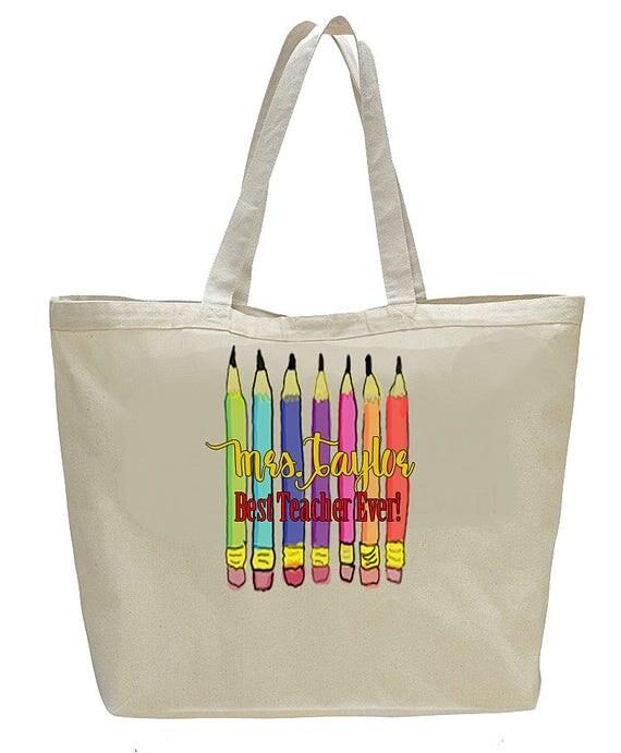 Teacher Gift, Best Teacher Ever, Monogrammed canvas bag, end of school gift, canvas bag, large totebag, summer beach bag, teacher totebag