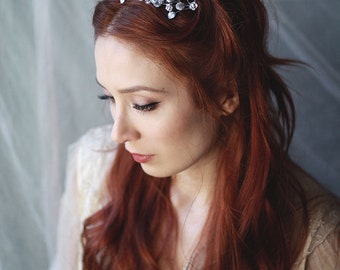 Silver bridal crown, wedding crown, grecian headpiece, gilded leaf crown, rose gold headpiece, gold tiara, bridal hair accessories