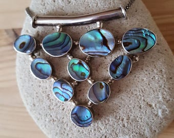 New Listing Sale... RARE AMAZING Abalone Sterling Silver 925 Pendant Necklace. New Zealand Abalone Pendant 925 Necklace. Abalone 925