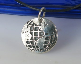 Fine Silver World Global Pendant - Fine Silver Traveler World Map Pendant Gift - Vagabond Silver Pendant - Wanderlust World Map Pendant Gift