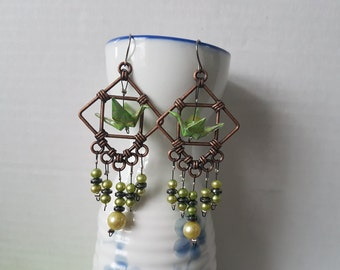 Origami crane earrings of light green paper in copper hoop with pearls and hematite