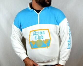 Vintage Azteca Club Washington Pullover Striped Sweatshirt