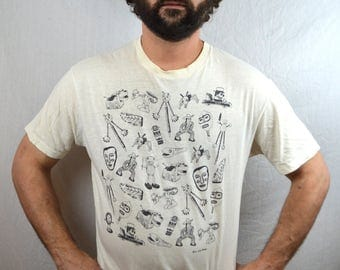 Vintage Ken Brown Weird Cartoon Tshirt Tee Shirt
