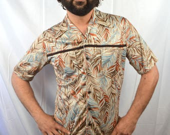 Vintage Joel Slinky 70s Disco Feather Button Up Shirt