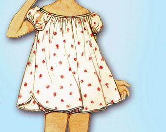 1950s Vintage Simplicity Sewing Pattern 1398 Toddler Girls Shortie Pajamas Size 6