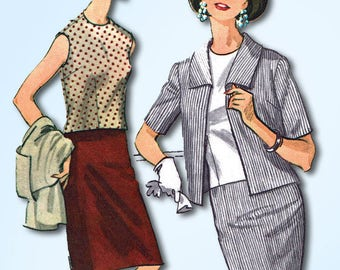 1960s Vintage McCalls Sewing Pattern 7773 Uncut Misses 3 Piece Suit Size 37 39 B