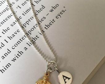 Personalised Sterling Silver Bee Initial necklace