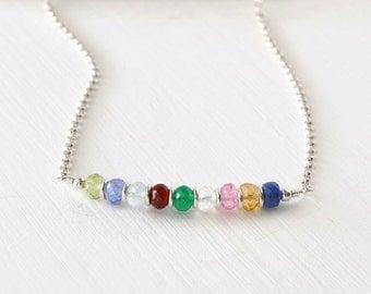 Custom Grandma Necklace / Grandmother Birthstone Necklace / Multi Birthstone Necklace / Mothers Birthstone / 18 Inch Sterling Silver