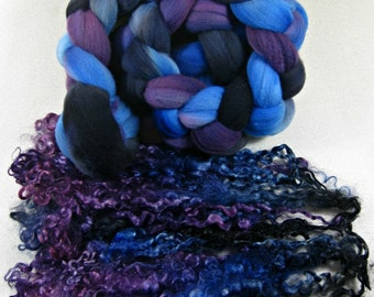 Violet Sapphire merino wool top/Teeswater locks for spinning and felting (5 ounces) tailspinning