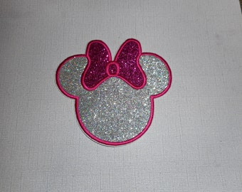 Free Shipping Ready to Ship Girl Glitter Head Machine Embroidery iron on applique