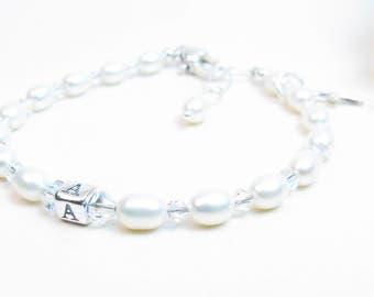 Baby Girl Bracelet // Baptism Bracelet // Christening Bracelet // Baby Bracelet // Girl First Communion Gift // Rice Pearl Bracelet