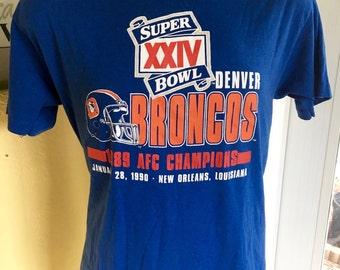 Denver Broncos Super Bowl 1990 vintage t-shirt - blue tee size large