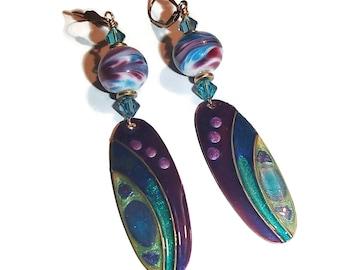 Long Dangle Earrings Painted Metal Earrings Lampwork Earrings OOAK