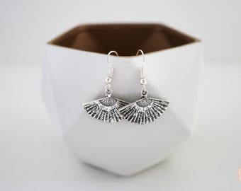 Silver Fan Dangle Earrings.