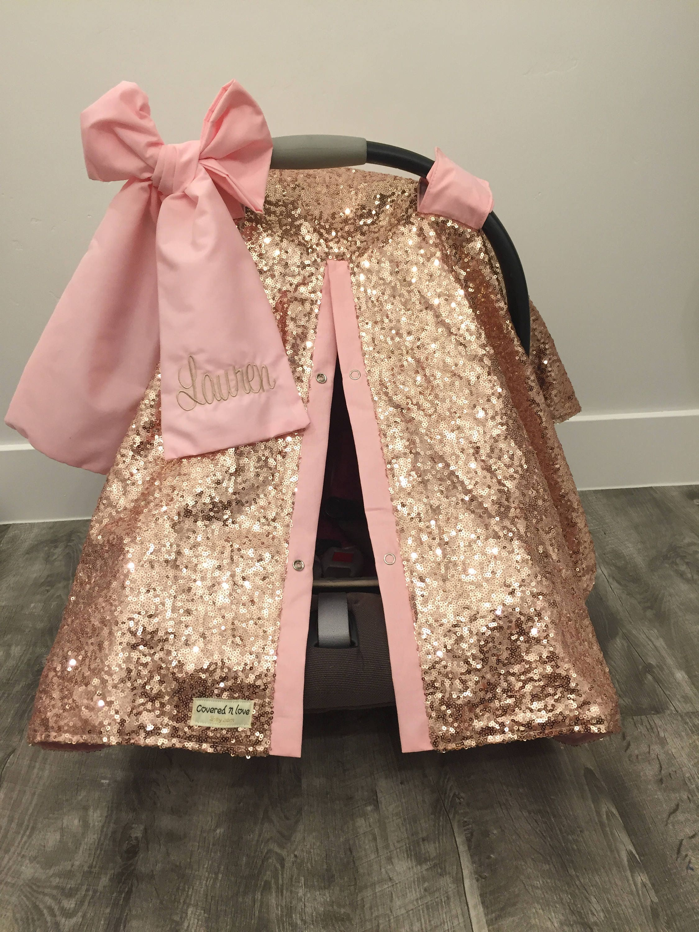 Rose Gold and Baby Pink car seat canopy with bow and name / carseat cover / carseat canopy /sequin / infant car seat cover / gold / sparkle & Rose Gold and Baby Pink car seat canopy with bow and name ...