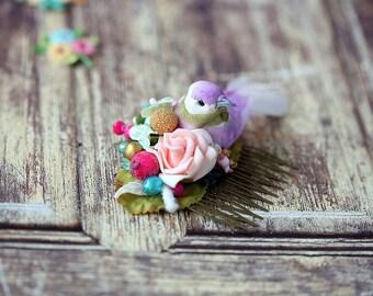 a purple bird floral hair comb. a bird headpiece. wedding hair comb. summer headpiece. a romantic wedding hair comb. bridal head comb.