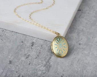 LONG Small Blue Ornate Locket Necklace, Oval Aqua Pendant, Delicate, Light Blue, 14kt Gold Filled Chain, Simple and Long Necklace