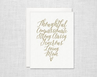 Letterpress Mother's Day Card - Script Heart