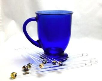 Swizzle Sticks ~ Glass Drink & Coffee Stir Sticks ~ Blown Glass Swizzle Stick~ Confetti Multi Color Style ~ Set of 8