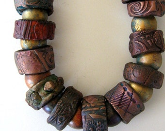 chunky  ethnic assembled statement piece with polymer clay beads